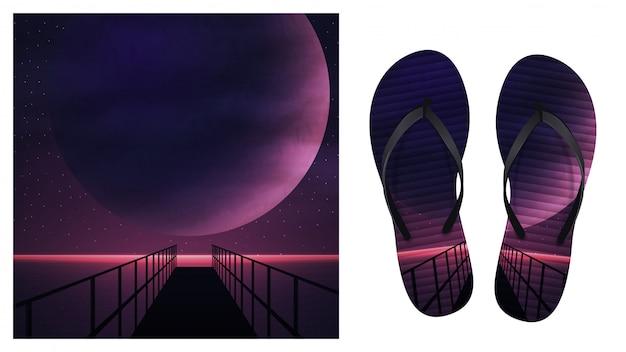 Fundo de verão com paisagem marinha espaço roxo com um grande planeta, céu estrelado e cais de madeira. design para impressão em chinelos. visualização de chinelos Vetor Premium