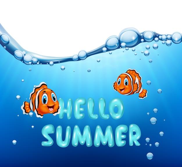 Fundo de verão com peixe-palhaço Vetor Premium