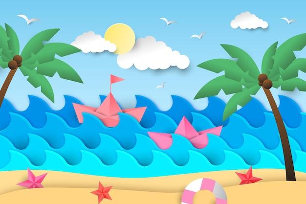 Fundo de verão com praia e palmeiras Vetor grátis