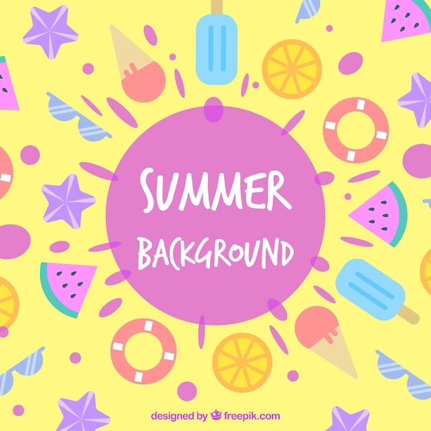 Fundo de verão com sorvetes e elementos de praia Vetor grátis
