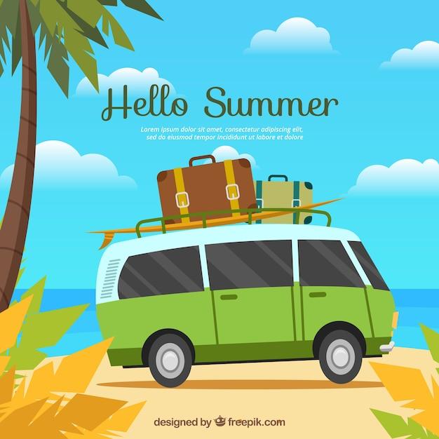 Fundo de verão com van e bagagem Vetor grátis