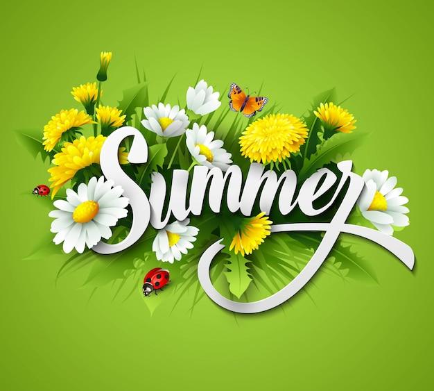 Fundo de verão fresco com grama, flores e margaridas Vetor Premium