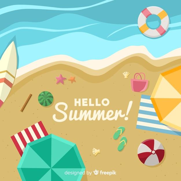 Fundo de verão praia costa Vetor grátis