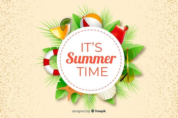 Fundo de verão realista com objetos de verão Vetor grátis
