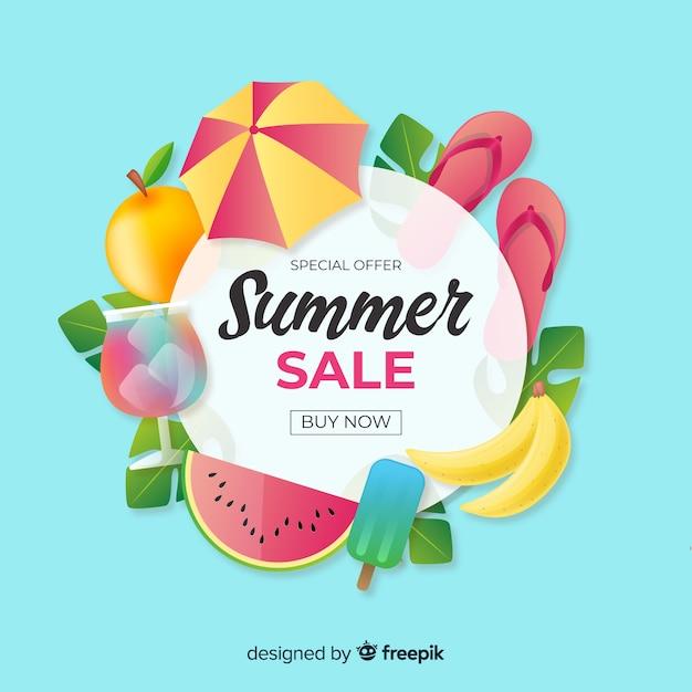 Fundo de verão realista Vetor grátis