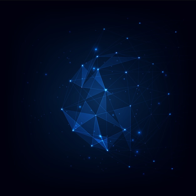 Fundo de vetor de plexo de polígonos conectados, visualização de dados de fundo de plexo de polígonos conectados ilustração vetorial Vetor Premium
