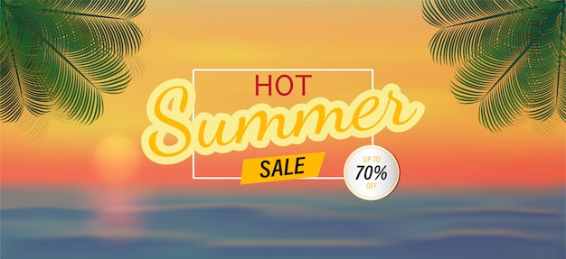Fundo de vetor e venda de verão para banner. Vetor Premium