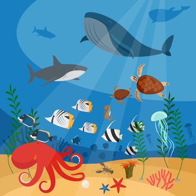 Fundo de vetor subaquático do oceano Vetor Premium