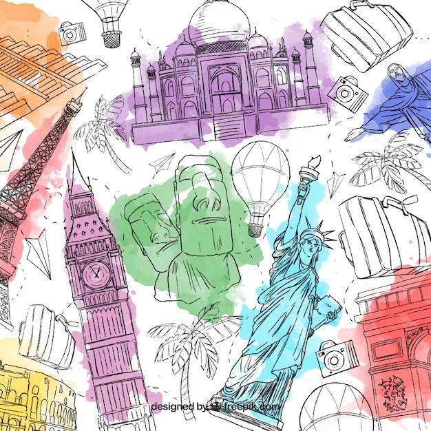 Fundo de viagem desenhado a mão criativo Vetor grátis