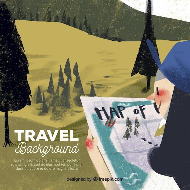 Fundo de viagens com paisagem Vetor grátis