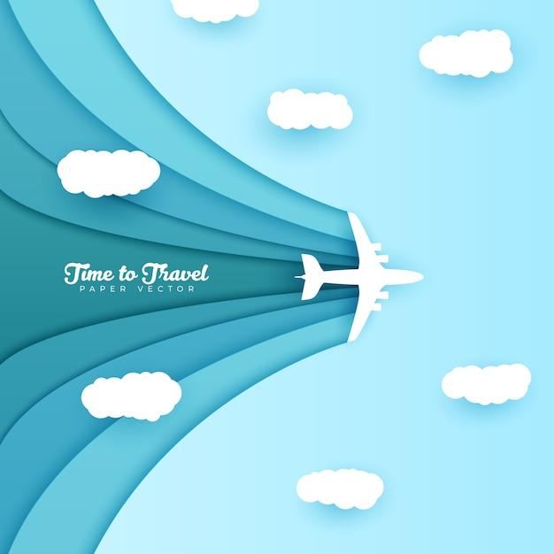 Fundo de viagens de estilo origami Vetor Premium