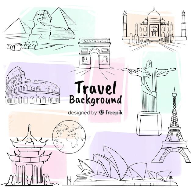 Fundo de viagens de mão desenhada Vetor grátis