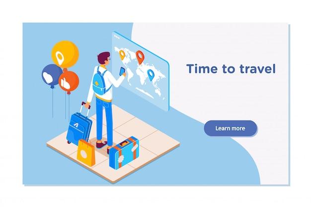 Fundo de viagens e turismo Vetor Premium