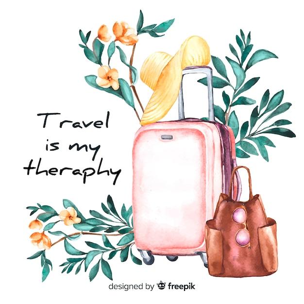 Fundo de viagens em aquarela com citação motivacional Vetor grátis