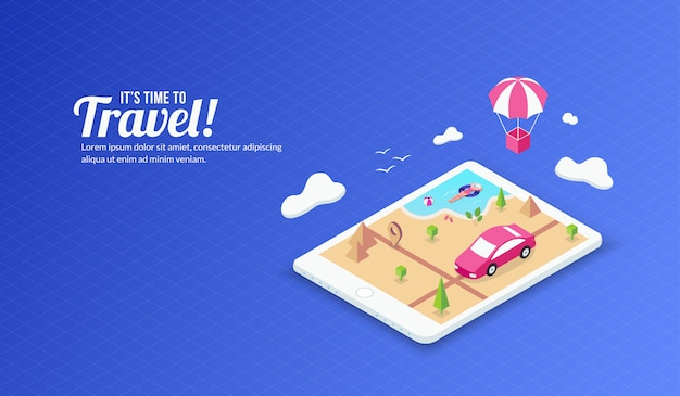 Fundo de viajar de verão isométrica Vetor Premium