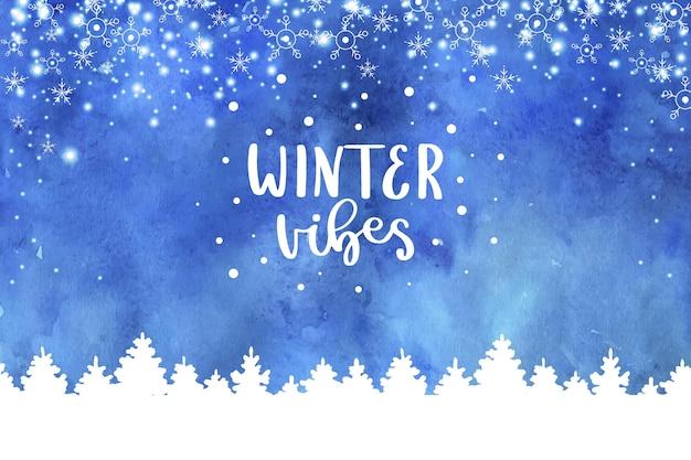 Fundo de vibrações de inverno em aquarela Vetor Premium