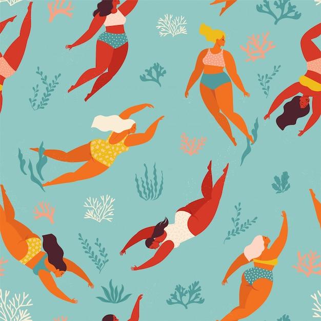 Fundo decorativo bonito com natação mulheres e menina no mar ou oceano. padrão sem emenda. design de arte subaquática. nade e mergulhe no mar. Vetor Premium