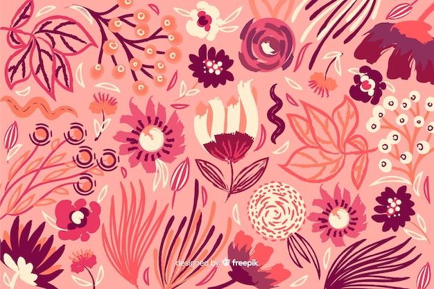 Fundo decorativo colorido flores pintadas Vetor grátis