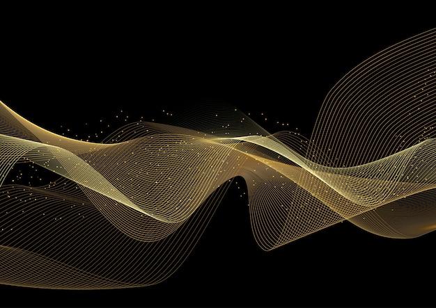 Fundo decorativo com design de ondas douradas brilhantes Vetor grátis
