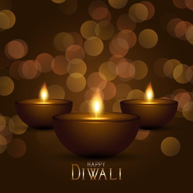 Fundo decorativo de diwali com lâmpadas a óleo e design de luzes bokeh Vetor grátis