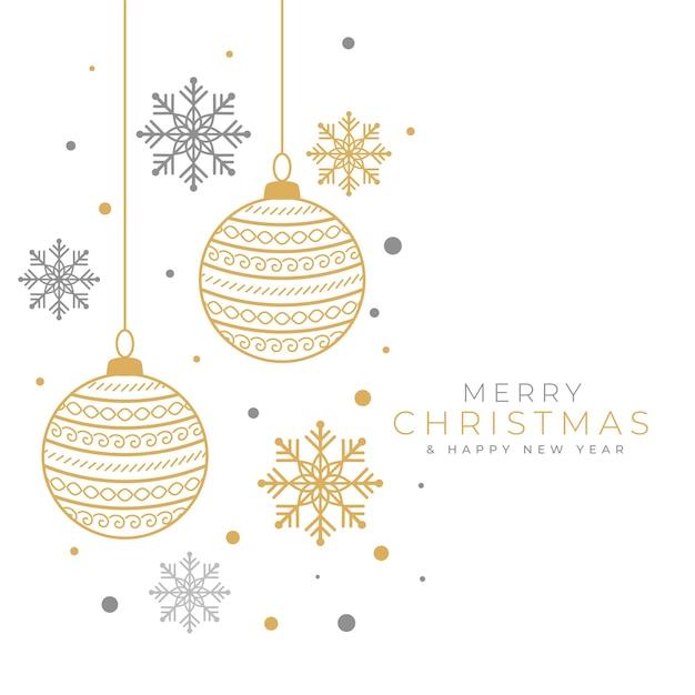 Fundo decorativo de feliz natal com bugiganga e floco de neve Vetor grátis