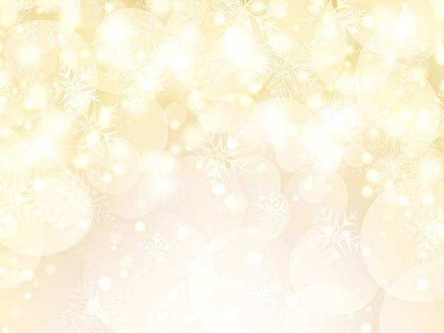 Fundo decorativo de natal dourado com flocos de neve e estrelas Vetor grátis