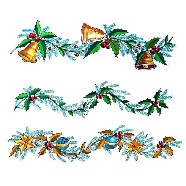 Fundo decorativo do cartão do feriado da guirlanda de natal Vetor grátis