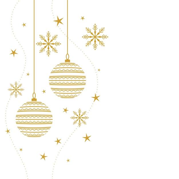 Fundo decorativo elegante de feliz natal nas cores branco e dourado Vetor grátis