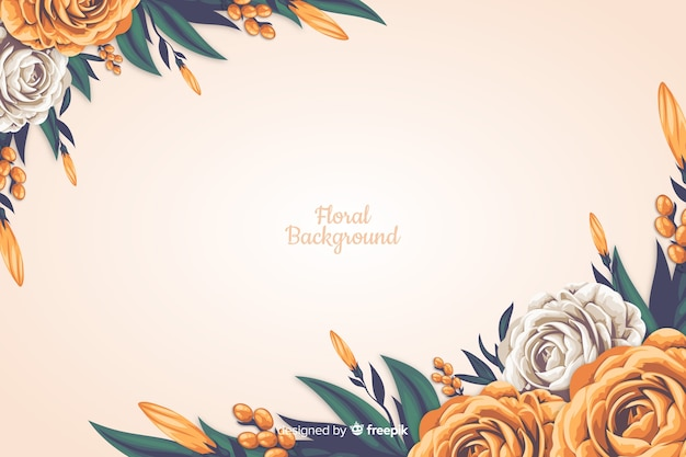 Fundo decorativo floral de estilo realista Vetor grátis