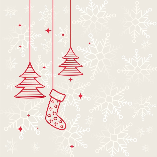 Fundo decorativo liso de feliz natal Vetor grátis