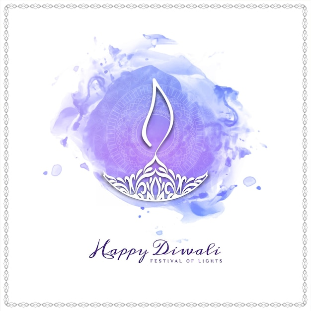 Fundo decorativo moderno feliz de diwali feliz Vetor Premium