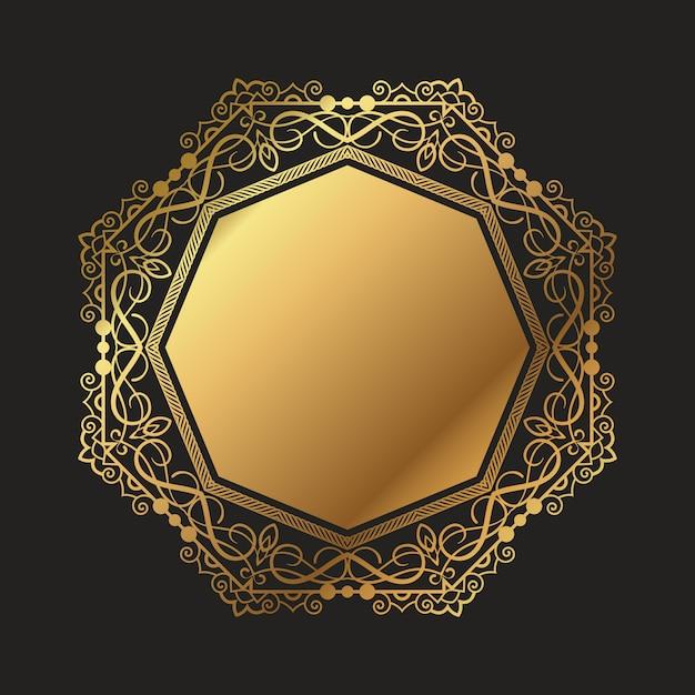 Fundo decorativo moldura de ouro Vetor grátis