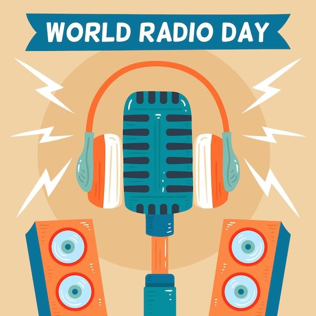 Fundo desenhado à mão do dia mundial da rádio Vetor grátis