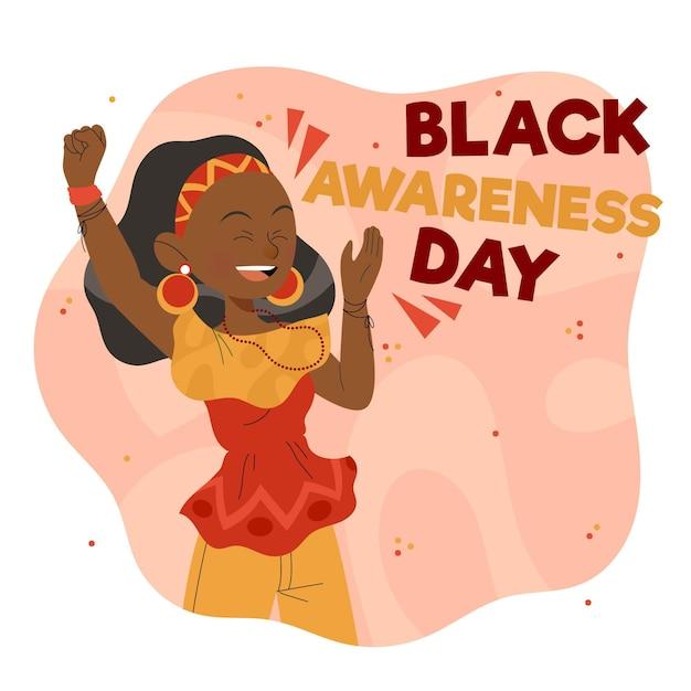 Fundo desenhado à mão para o dia da consciência negra Vetor Premium