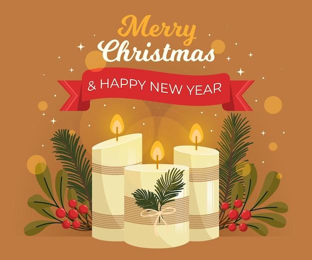 Fundo desenhado à mão para velas de natal Vetor grátis