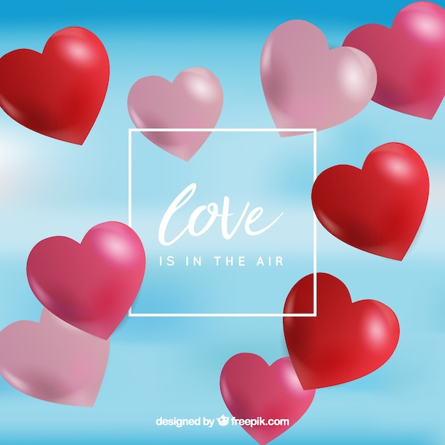 Fundo desfocado com balões de coração vermelho Vetor grátis