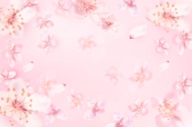 Fundo desfocado com flor de cerejeira Vetor grátis