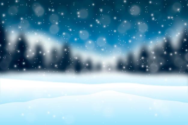 Fundo desfocado de inverno Vetor Premium