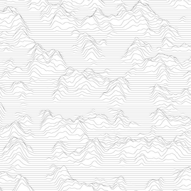Fundo despojado com linhas onduladas, fazendo montanhas Vetor grátis