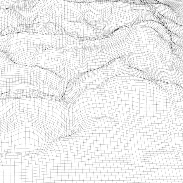 Fundo digital abstrato da paisagem do wireframe. cyber ou fundo de tecnologia Vetor Premium