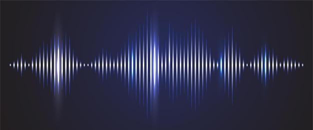 Fundo digital da onda sonora. gráfico de brilho de faixa de áudio de frequência e espectro Vetor Premium