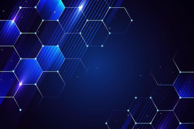 Fundo digital do espaço da cópia azul escuro do favo de mel Vetor Premium