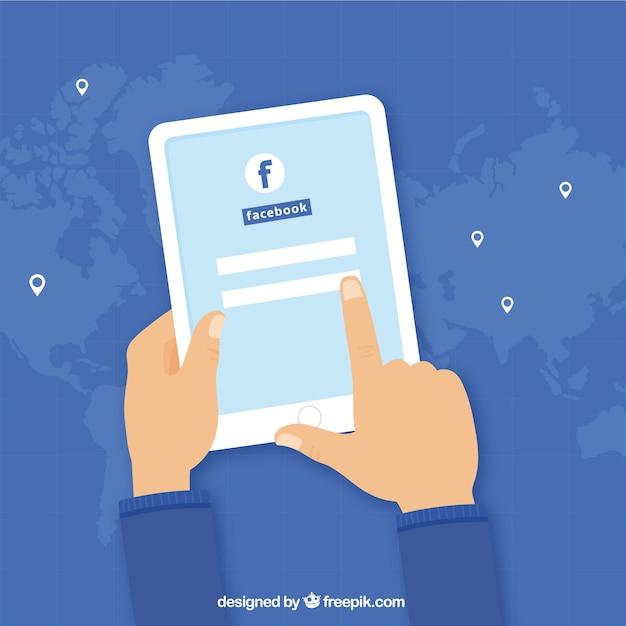 fundo dispositivo com login facebook baixar vetores grátis