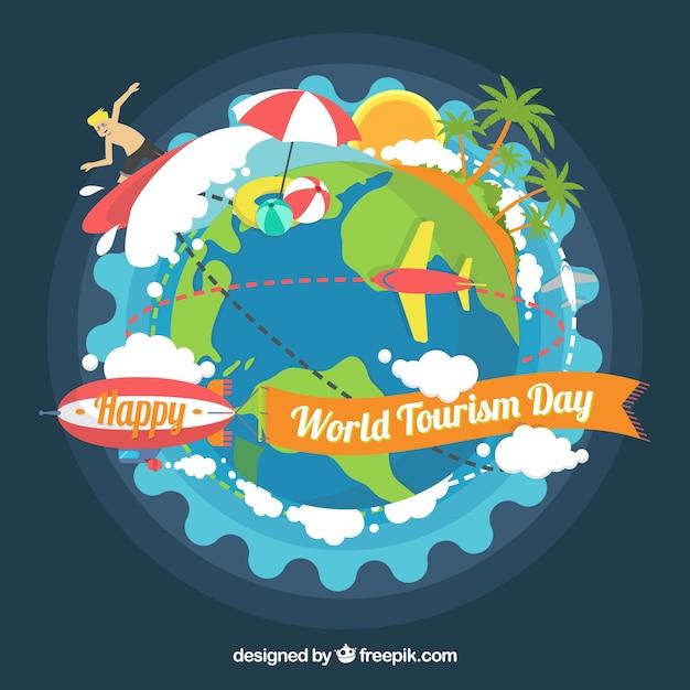Fundo divertido, dia do turismo mundial Vetor grátis