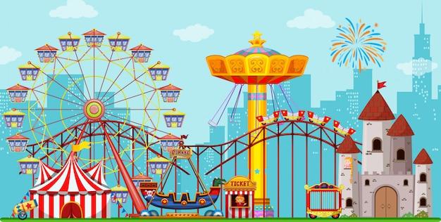 Fundo divertido parque de diversões Vetor Premium