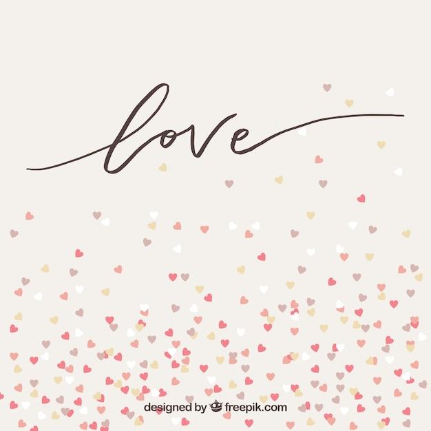 Fundo do amor com corações pequenos Vetor Premium