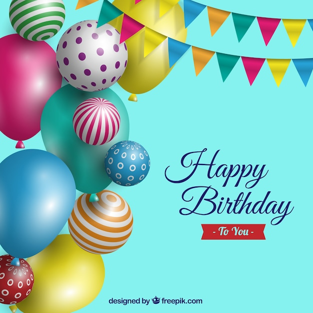 Fundo do aniversário com balões realistas Vetor grátis