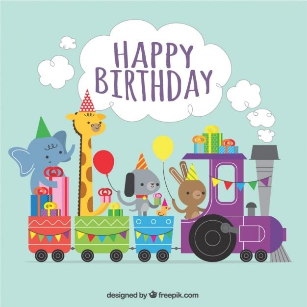 Fundo do aniversário de trem com animais bonitos Vetor grátis