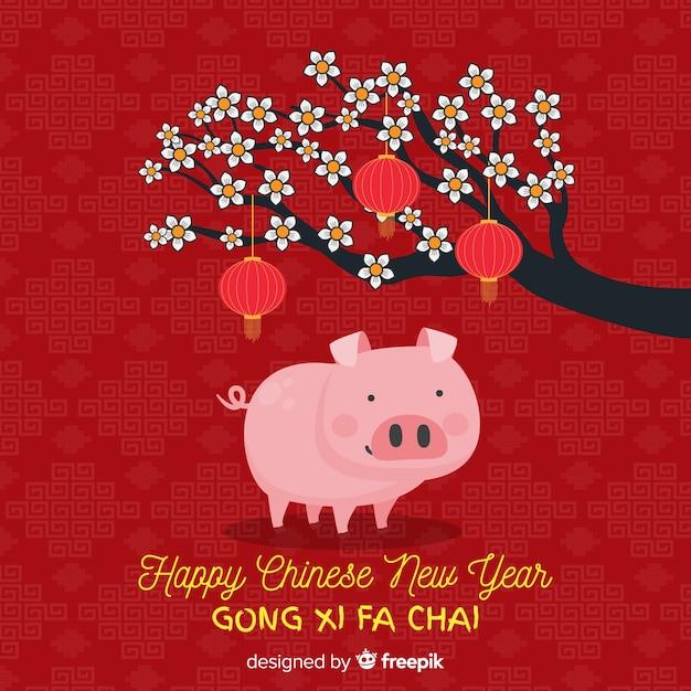 Fundo do ano novo chinês de 2019 Vetor grátis