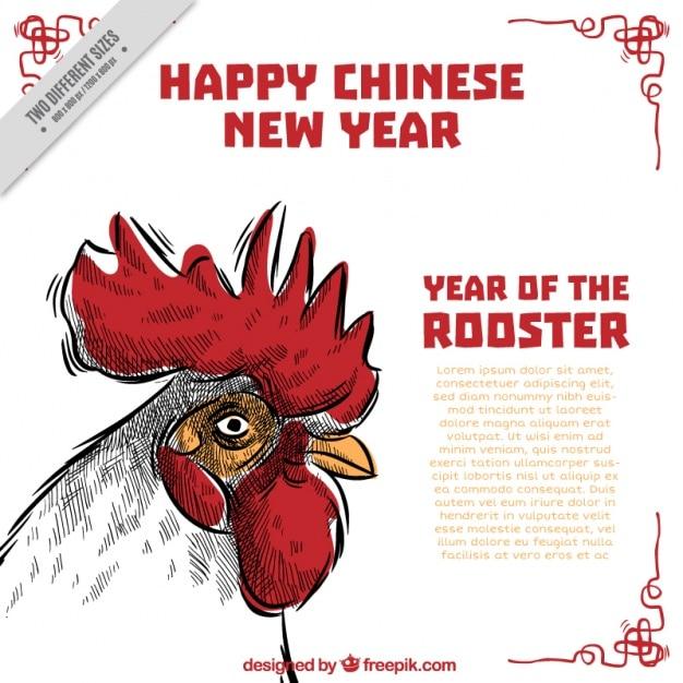 Fundo do ano novo chinês desenhada à mão Vetor grátis